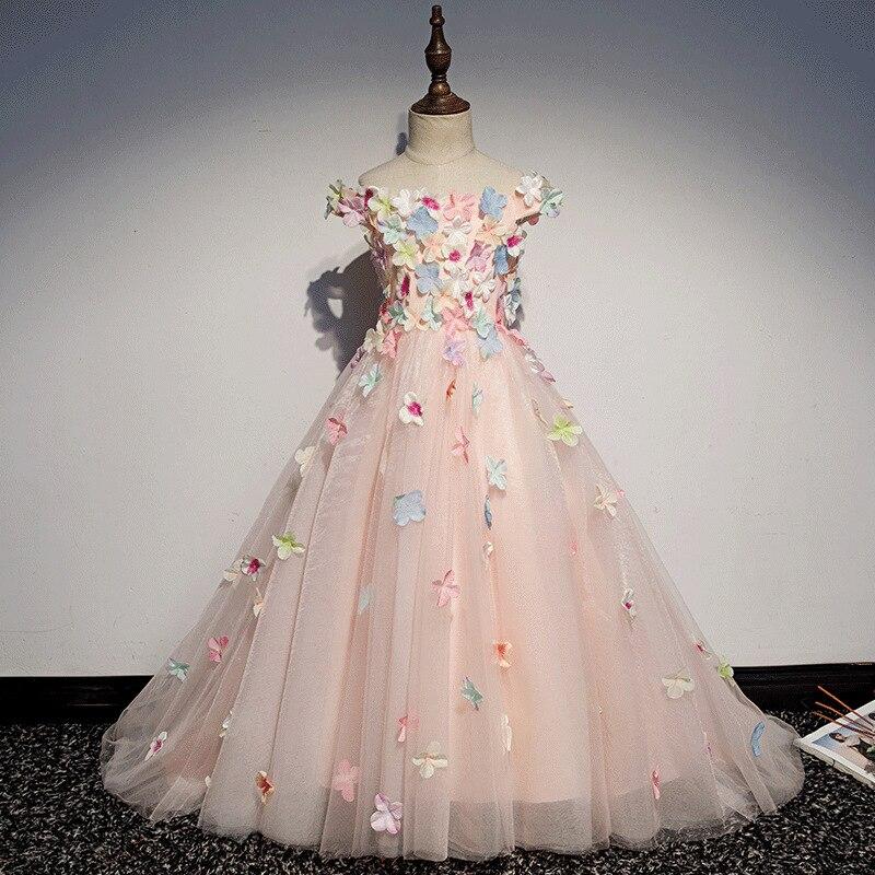 BacklakeGirls Kinder Bruidsjurk 3D Flowers Girls Dress Floor Length Evening Gowns Pageant Dress For Girls Costume Enfant Mariage