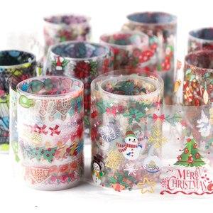 Image 3 - 10pcs חג המולד קישוטי ציפורניים לערבב צבעוני העברת נייל לסכל מדבקת שלג פרח איילים מתנה סנטה דבק נייר CH1036 1