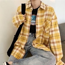 3 Color Yellow Plaid Shirts Womens Tops and Blouses Turn-down Collar Casual Loose Korea Autumn Clothes Women