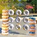Деревянная настенная подставка в виде пончика, держатель для пончика, детский душ, вечерние украшения на день рождения, вечерние аксессуары...