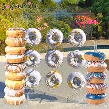 Ahşap Donut duvar standı halka tutucu bebek duş çocuk doğum günü partisi dekor çörek parti dekorasyon düğün olay parti malzemeleri