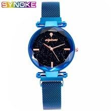 Synoke Элегантные Синие Роскошные Кварцевые часы для женщин