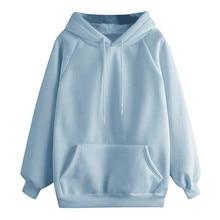 Sweatshirt Long-Sleeve Solid-Color Women's Casual Autumn Korean Pullover Hooded-Pocket