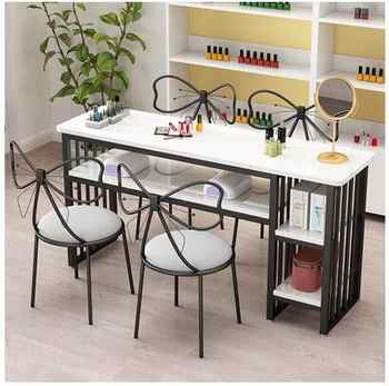 Nail table single European minimalist nail table online celebrity double nail table and chair set economical nail shop table