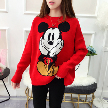 Autumn 2 Color Sweater Female New Cute Knit Tops Jumpers Thick Cartoon Mickey Pullover Harajuku Kawaii Oversized Women Sweater color block mixed knit pullover sweater