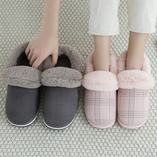 Fashion Shallow Winter Slippers Women Big Size 43-45 TPR Comfortable Indoor Slippers Woman Gingham Suede House Shoes