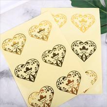 60 шт/лот прозрачные наклейки бронзовые Сердца ПВХ канцелярские