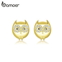 bamoer GAE304 925 Sterling Silver Golden Perpetual Owl Stud Earrings for Women Festival Gift Fine Jewelry Korean Style Earrings
