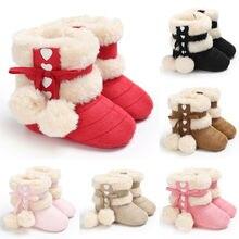 Обувь для маленьких девочек; обувь на мягкой подошве для новорожденных; теплые зимние ботинки