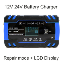 FOXSUR Car Motorcycle Battery Charger 12V 8A 24V 4A Smart Fast Charging for AGM GEL WET EFB Lead Acid Battery Charger