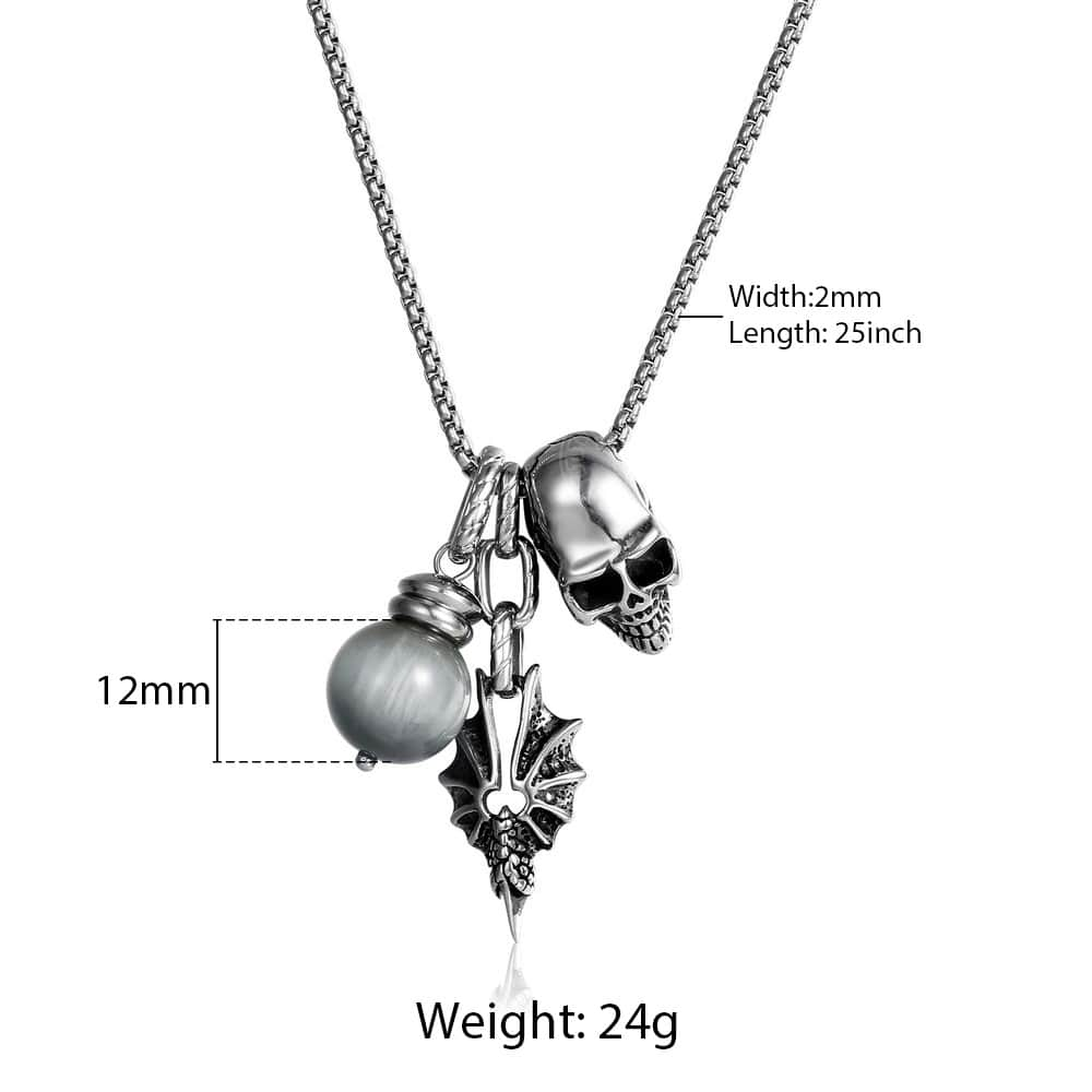 Stainless Steel Chain with Skull and Snake Pendants