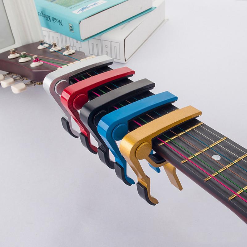 High Quality Aluminium Alloy Metal Guitar Capo Quick Change Clamp Key Acoustic Classic Guitar Capo Tone Adjustin Guitar Parts