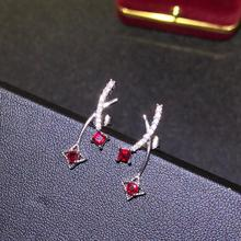 925 silver inlaid natural pigeon blood red ruby earring size square 3 mm round 3 mm vitreous crystal clean ruby stud earrings