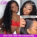 Celie волосы волна воды парик 6X6 закрытие парик предварительно сорванные человеческие волосы парики с детскими волосами волна воды закрытие п...