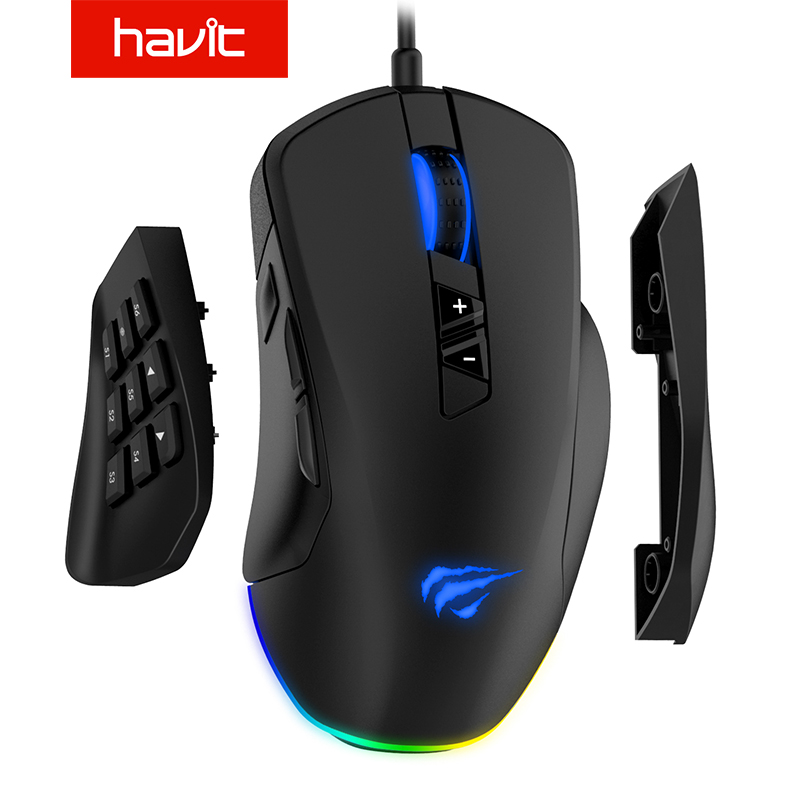 Havit Gaming <font><b>Mouse</b></font> <font><b>12000</b></font> <font><b>DPI</b></font> Wired <font><b>Mice</b></font> with 14 Programmable Buttons Interchangeable Side Plates , 2 Replaceable Right Plates image