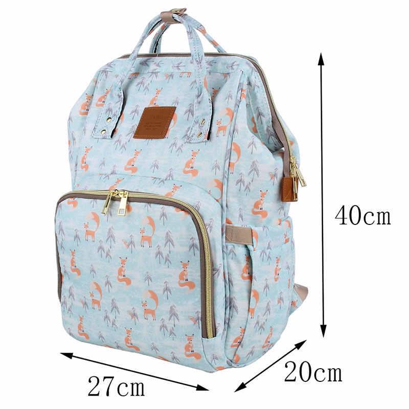العلامة التجارية تصميم أكياس مومياء موضة الثعلب المطبوعة حقيبة السفر كبيرة الكرتون الأمومة أكياس حفاظات حقيبة التمريض لرعاية الطفل