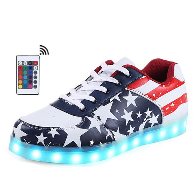 Unisex LED Light Up Laces Casual Shoes Woman Man Control Remote Luminous Sneaker