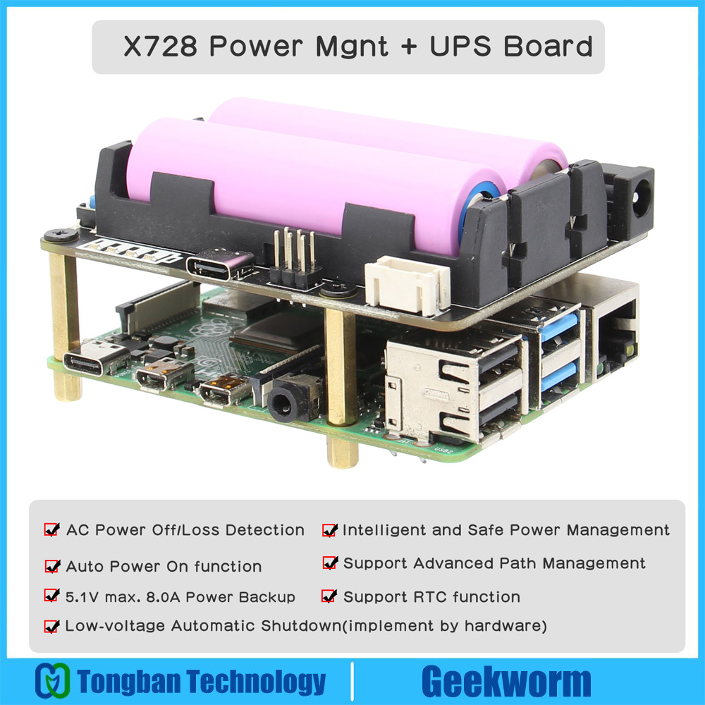 Raspberry Pi 18650 UPS(Max 5,1 V 8A), X728 Placa de control de potencia con dectección de pérdida de energía de CA y apagado seguro para Pi 4B/3B +/ 3B