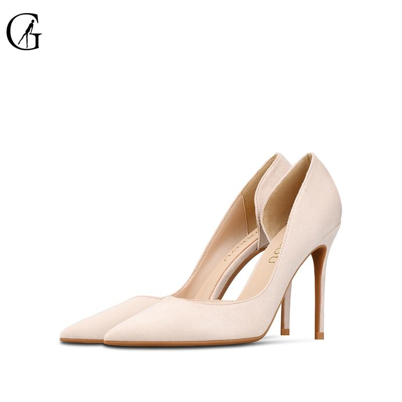 GOXEOU женские туфли-лодочки высокого качества из флока; Туфли-лодочки D'Orsay 10 8 6 см туфли на высоком тонком каблуке, вечерние модные туфли «Мэри-...