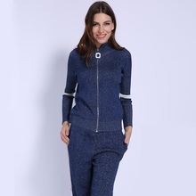 Lurex Sweater Women s  Suit 2 piece set women Knitted Sweaters Track Suits for Zipper Trousers Top Clothing Sets