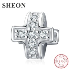SHEON 2019 New 925 Silver Fashion Clear Zircon Cross Charms Stopper Beads Fit Original DIY Pandora Bracelet Jewelry Accessories