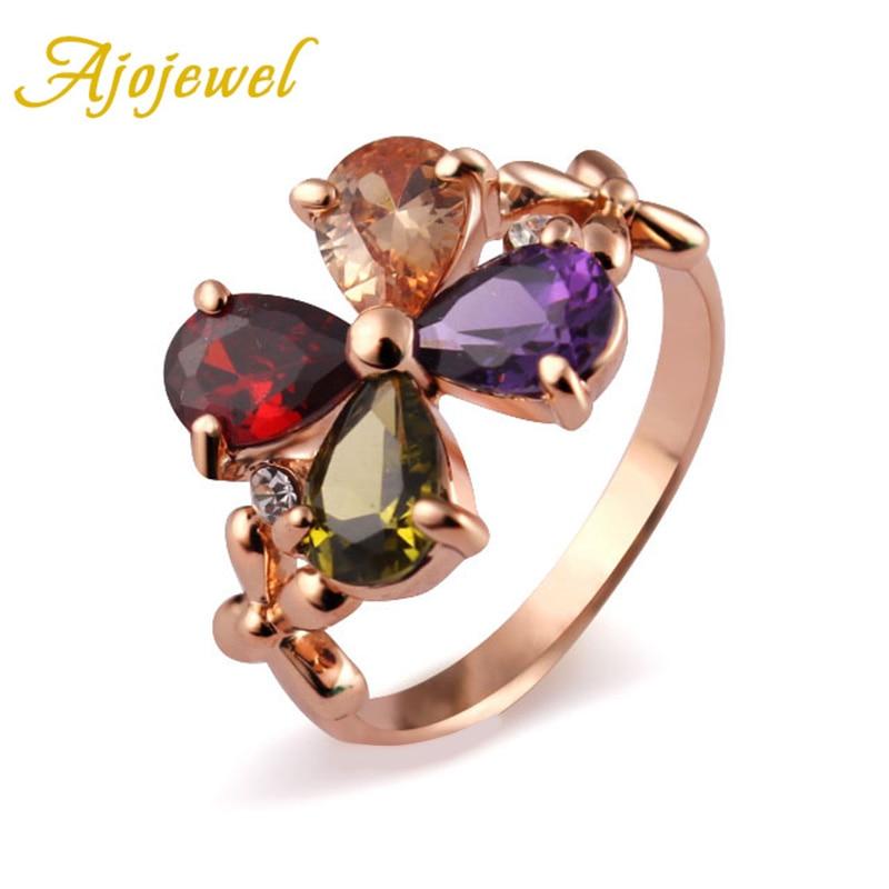 Velikost 7-9 Elegantní AAA Cubic Zircon květinové prsteny pro ženy Svatební výročí strany dárek Rose barevné šperky