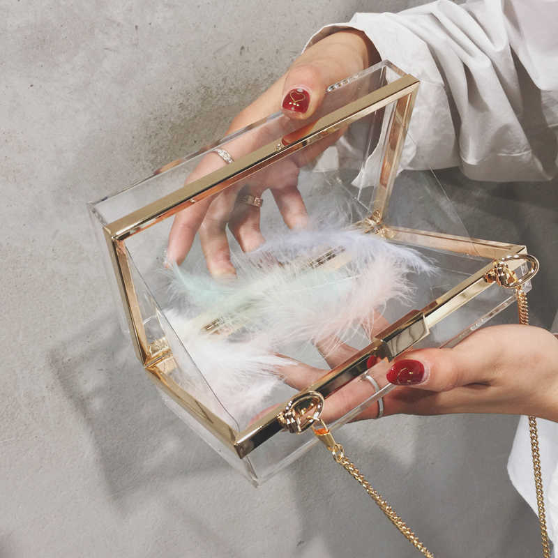 2019 Women Acrylic Clear Bag Purse Cute Transparent Crossbody Bag Women Lucite See Through Handbags Party Wedding Evening Clutch