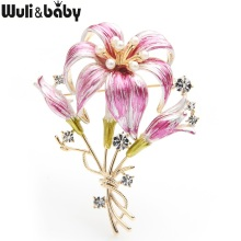 Wuli&baby Pink Blue Flower Brooches Women Czech Rhinestone Weddings Brooch Pins Gifts