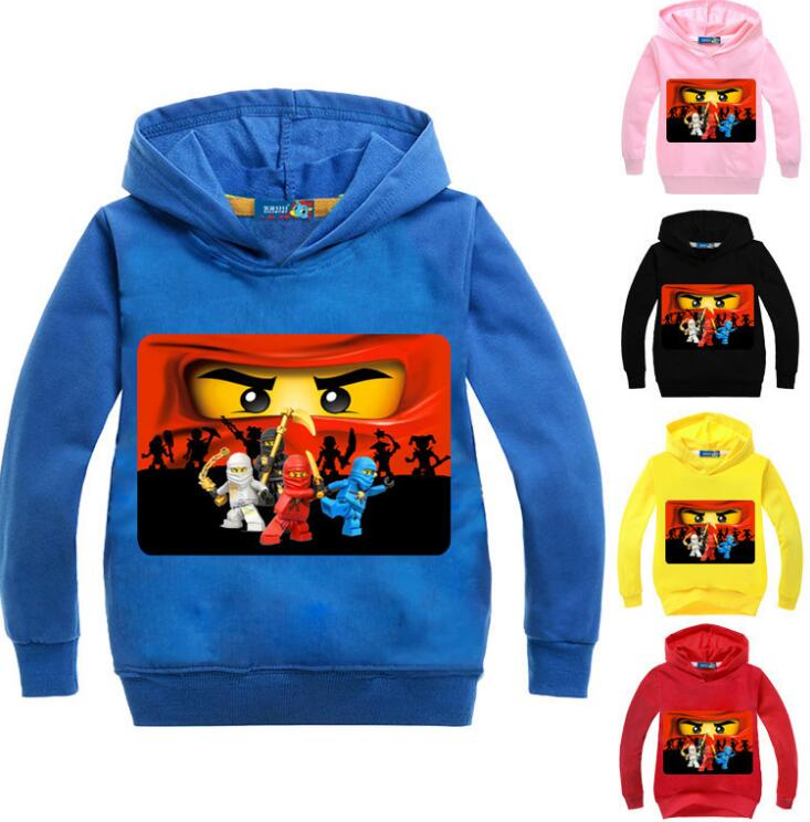 2-14Years Ninja Baby Girl Hoodie Boys Sweatshirt Ninjagoes Hoodies Kids Legoes Clothes Cartoon Clothing Children Jumpers