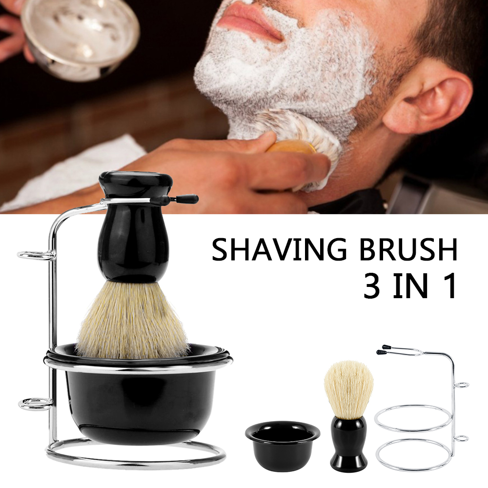 Badger Hair Men's Shaving Beard Brush Salon Men Badger Hair Shaving Brush Stainless Steel Stand And Stainless Bowl Mug Set