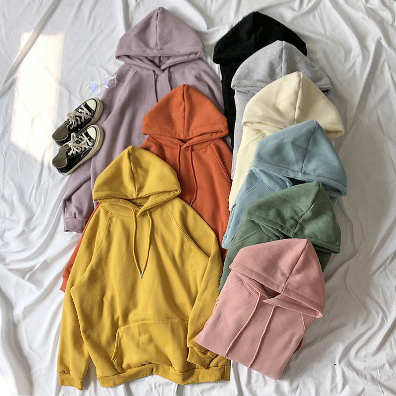 Mooirue Spring Hoodies Fleece Candy Color Thickening Loose Lazy Pullover Sweatshirt Hooded Tops