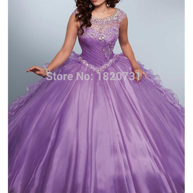 New Light Purple Ball Gown Quinceanera Dresses Scoop Pleats Beaded Rhinetones Sweet 16 Dress For 15 Years Debutante Gown