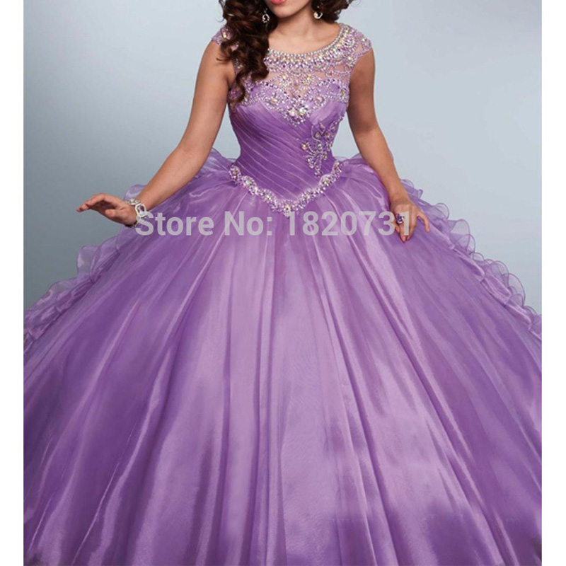 New Light Purple Ball Gown Quinceanera <font><b>Dresses</b></font> Scoop Pleats Beaded Rhinetones <font><b>Sweet</b></font> <font><b>16</b></font> <font><b>Dress</b></font> For 15 Years Debutante Gown image