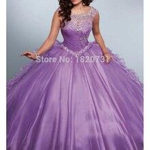 Nova luz roxa vestido de baile quinceanera vestidos colher plissados frisado rhinetones doce 16 vestido para 15 anos debutante vestido
