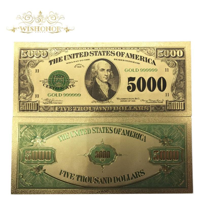 500 قطعة/الوحدة الأمريكية 1928's سنة USD 5000 دولار الذهب مطلي الأوراق النقدية في 24K الذهب احباط وهمية ورقة المال بيل لجمع-في الأوراق النقدية الذهبية من المنزل والحديقة على  مجموعة 1