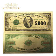 500pcs/lot American 1928\'s Year USD 5000 Dollars Gold Plated Banknote in 24K Gold Foil Fake Paper Money Bill For Collection - DISCOUNT ITEM  29% OFF Home & Garden