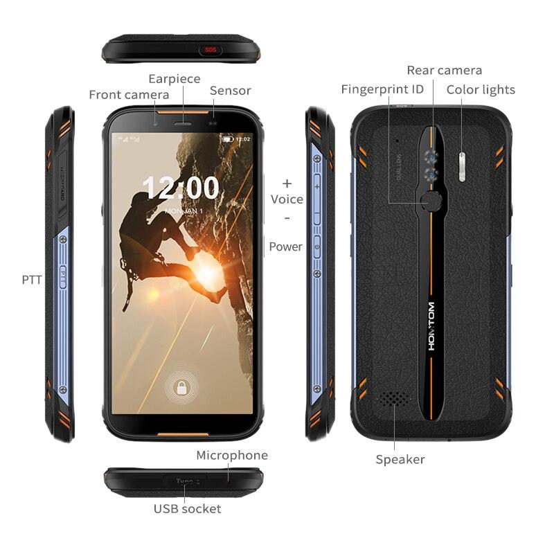 Homtom HT80 IP68 Waterdichte Smartphone 4G Lte Android 10 5.5 Inch 18:9 Hd + MT6737 Quad Core Nfc Draadloze lading Sos Mobiele Telefoon - 5