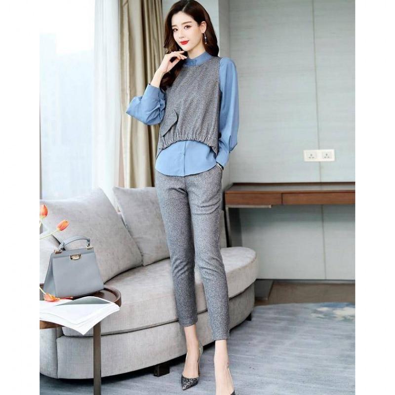 2019 Autumn Office 3 Piece Sets Outfits Women Plus Size Shirt+vest+pants Suits Elegant Korean Casual Women's Sets Femme 2019 40