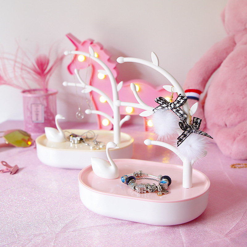 Pink GIRL'S Heart Swan Lake Jewelry Box Home Decorations Decoration Entrance Hanging Key Holder Ring Storage Rack