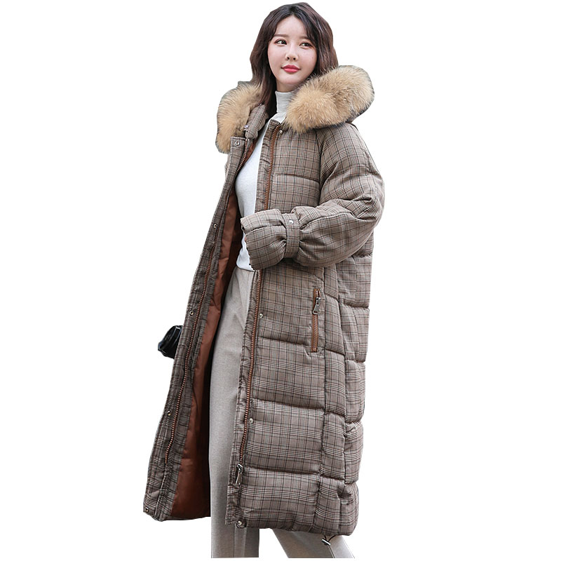 Chic Long Plaid Fur   Coat   Hooded Winter   Down     Coat   Heavy Jacket Oversize Thick Warm Cotton Padded Wadded Parkas Big Pocket