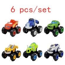 6 шт./компл. Blaze автомобильные игрушки чудо дробилка грузовик автомобили фигурки блестящие игрушки для детей подарки на день рождения