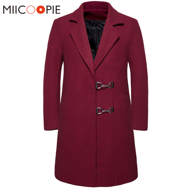 Korean Long   Trench   Coat Men Winter Turndown Collar Solid Color Slim Fit Long Business Jacket Vintage Windbreaker Male Clothing