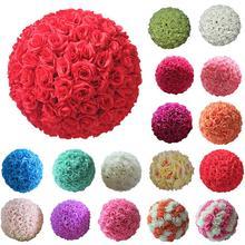 8 inç ipek çiçek düğün öpüşme topları Pomander dekoratif asılı çiçek topu Centerpieces gül düğün dekorasyon topu