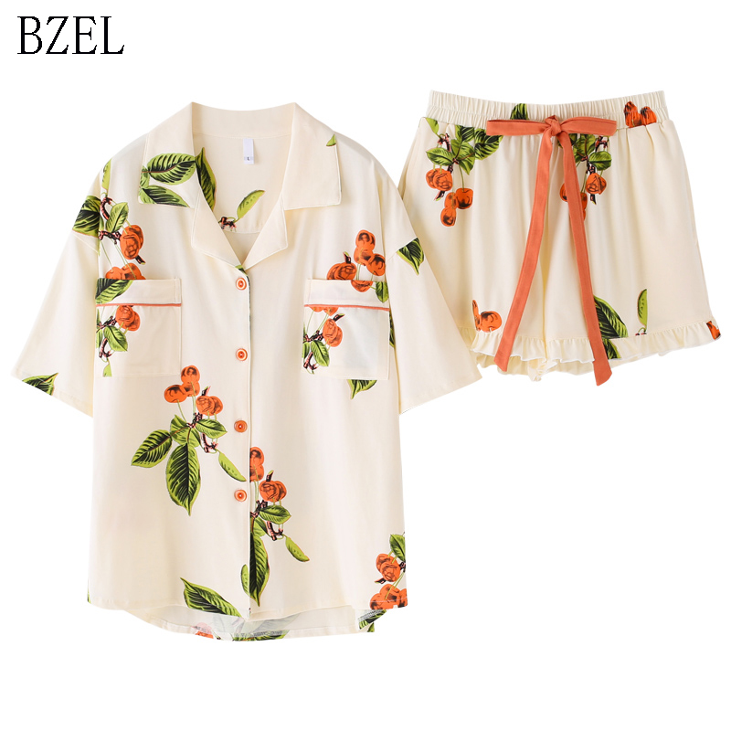 BZEL Floral Sleepwear Women's   Pajama     Sets   New Cotton Pijama With Pockets Pyjama Femme Quality Ladies Home Suit Clothes For Home