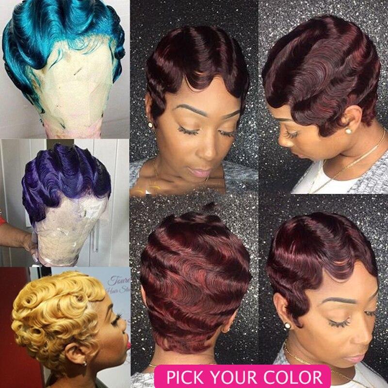 Sapphire 2PCS PACK Burg Blonde Finger Wave Short Bob Human Hair Wigs Machine Made Pixie Cut Wigs For All Women Short Wavy Wigs
