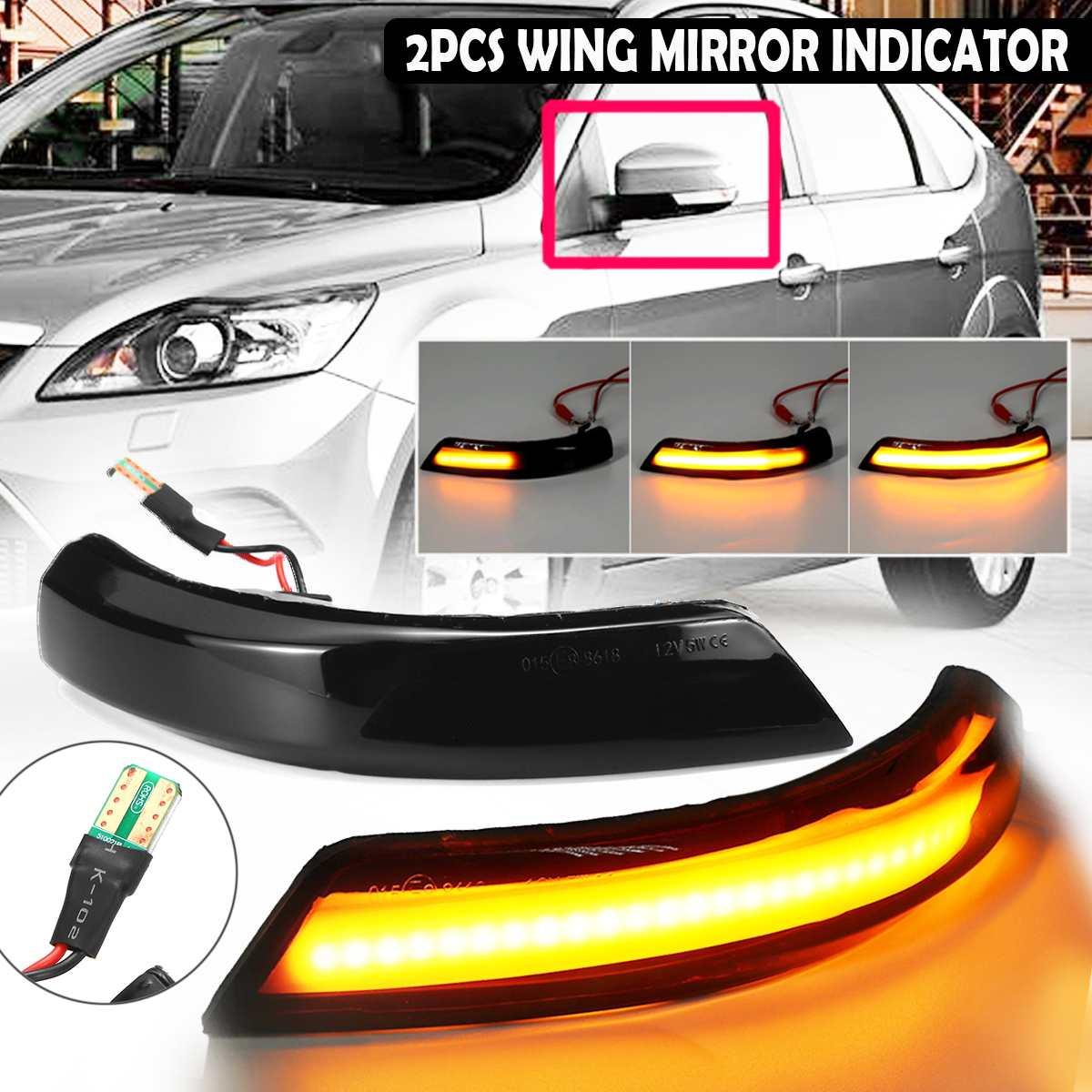 2pcs Fluindo Turn Signal LED Light Side Asa Dinâmica Repetidor Indicador Blinker Luz para Ford Focus Espelho Retrovisor para mondeo