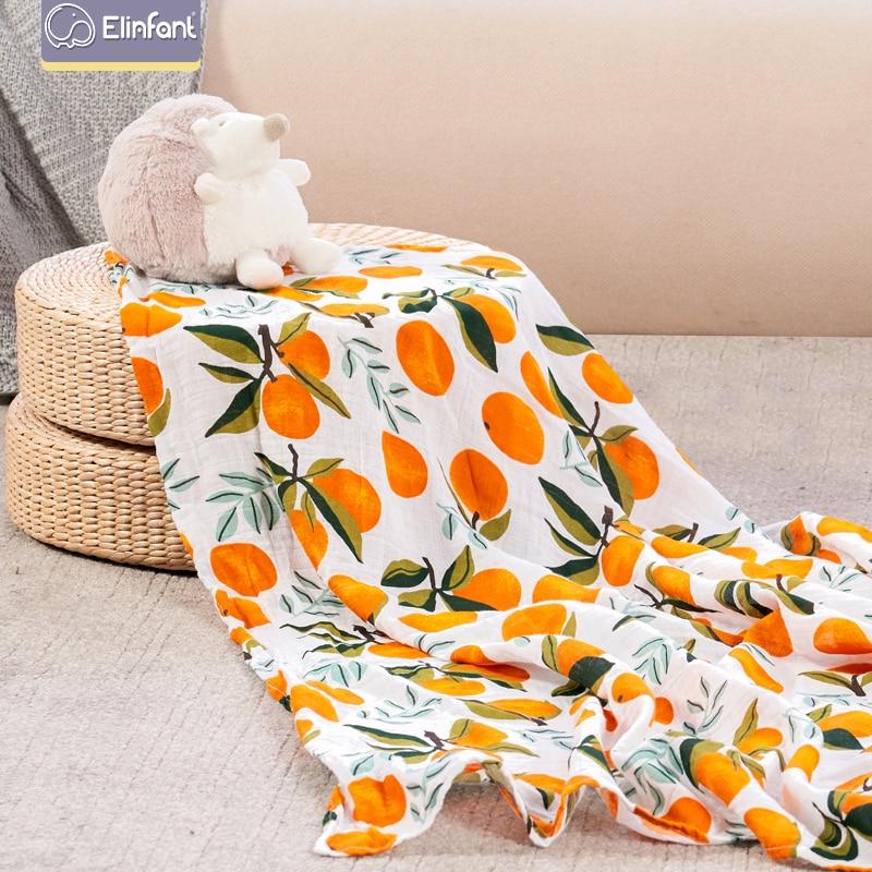 Elinfant 100% baumwolle 120*120cm 2 Schichten Neugeborenen Baby Bad Handtuch Wrap Musselin Swaddle Decken Großhandel Dropshipping