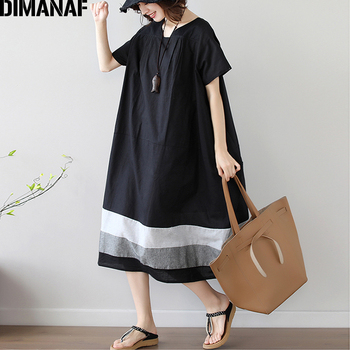 цена DIMANAF Plus Size Dress Women Clothing Summer Sundress Vintage Elegant Female Vestidos Elegant Lady Dress Loose Black Linen онлайн в 2017 году