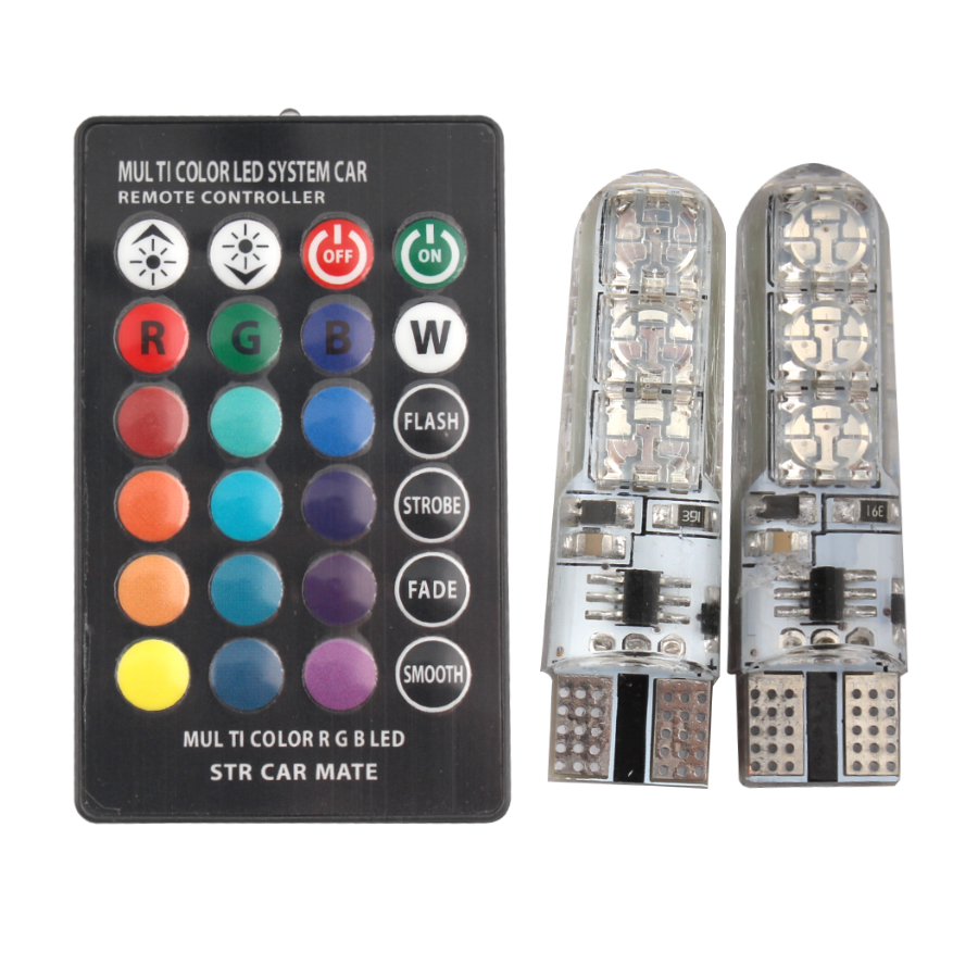 2 PCS LED Lights RGB LED Bulb Lamp 12V SMD 5050 Signal Lamp  Wedge Light Interior In Decorative Lights For Remote Controller