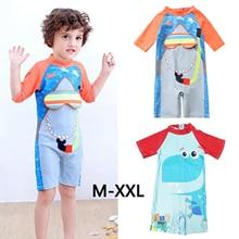 Kid Swimsuit One Piece Boys Swimwear Sun Protection Girl Siamese Swimdress